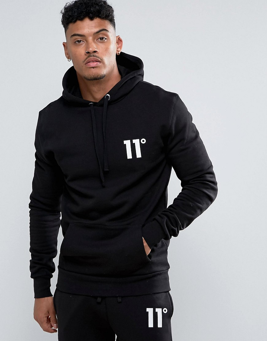 11 Degrees Hoodie With Logo - Black