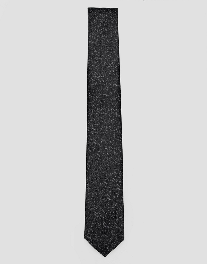 Selected Homme black tie with speckle detail - Black