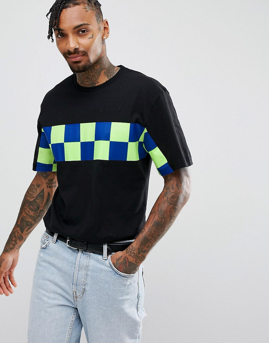 Granted T-Shirt In Black With Checkerboard Panel - Black