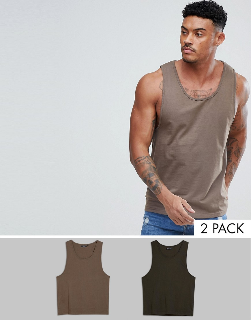Brave Soul 2 Pack Plain vest - Tan