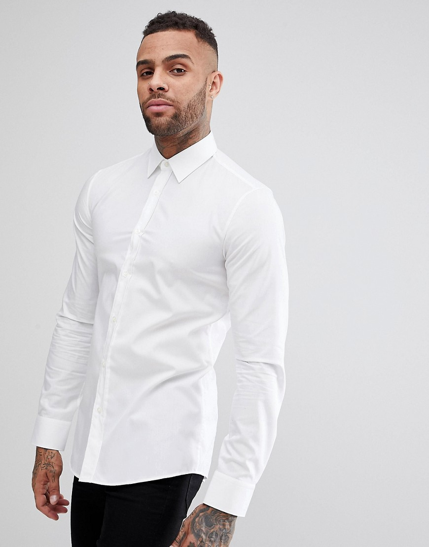 HUGO Elisha Extra Slim Fit Basic Poplin Shirt - White