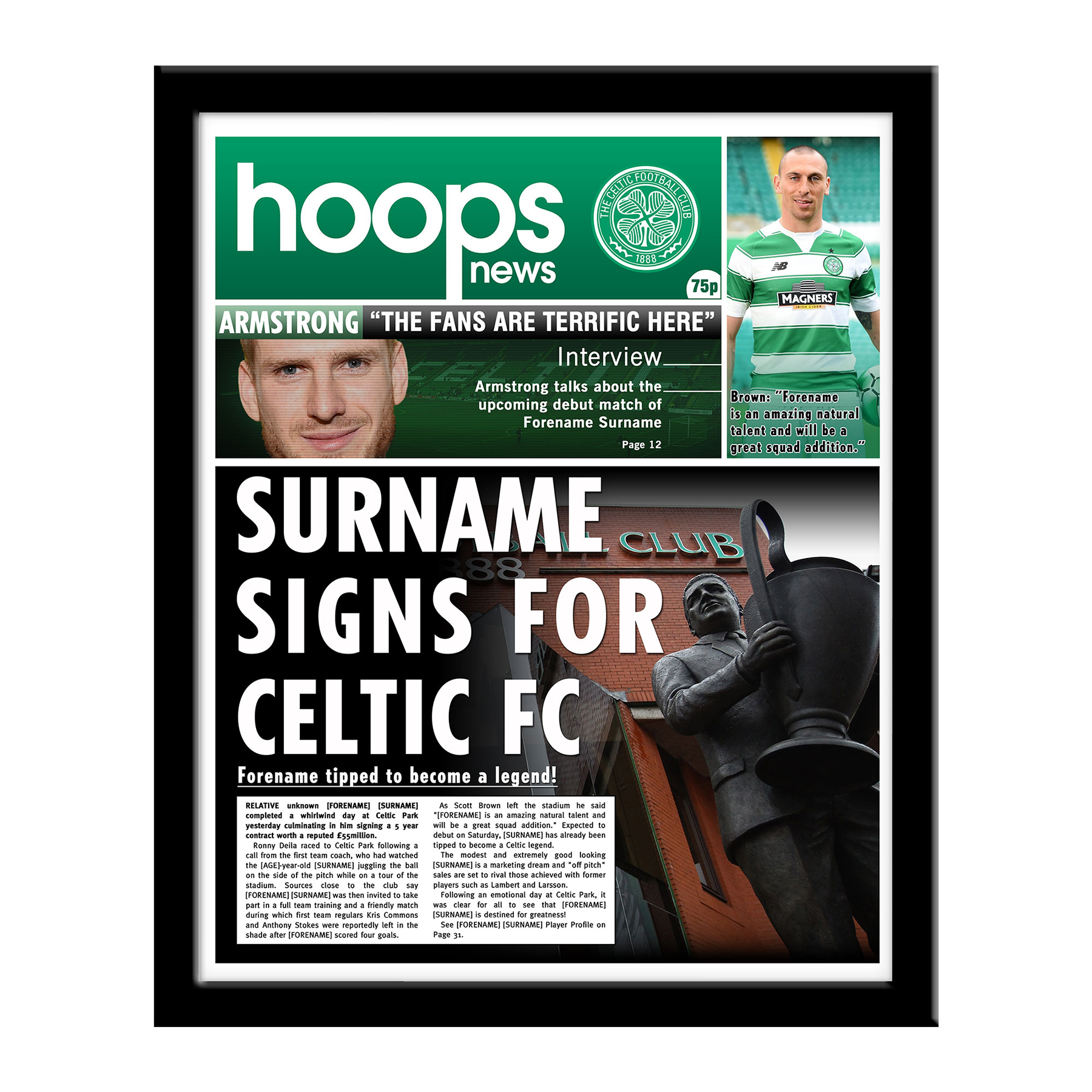 Celtic Personalised Newspaper - Framed