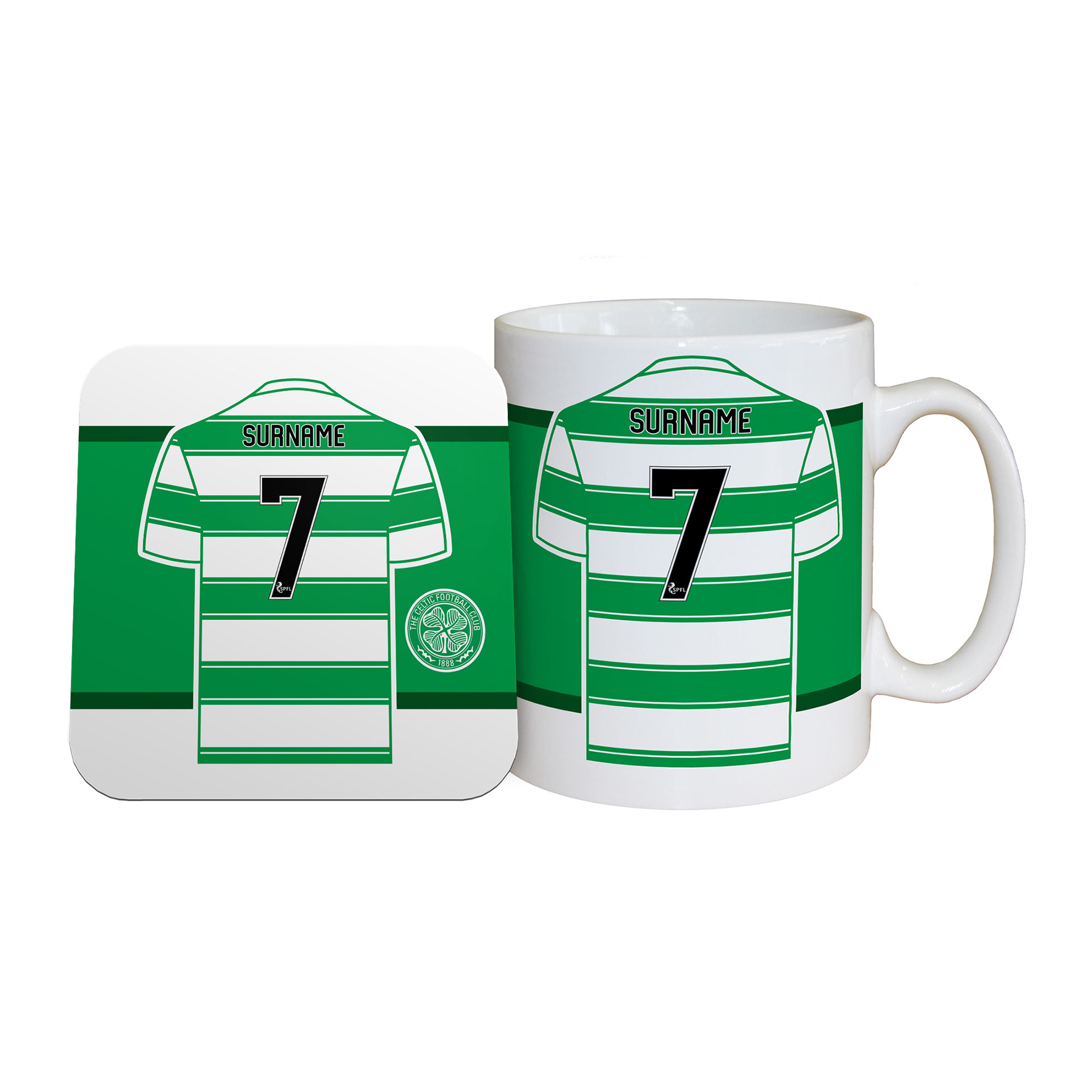Celtic Personalised Shirt Mug and Coaster Set