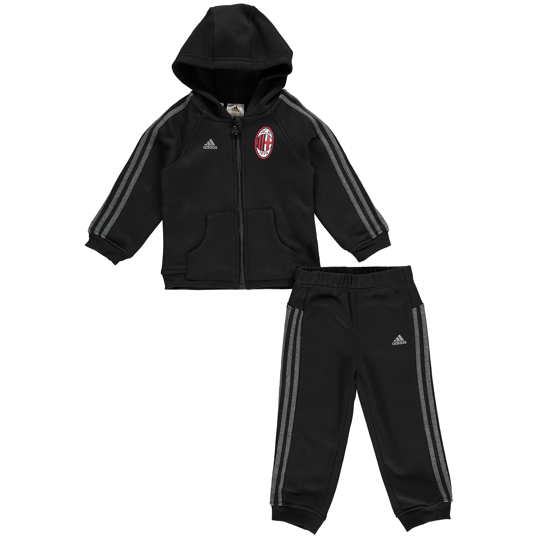 AC Milan 3 Stripe Baby Jog Suit Black