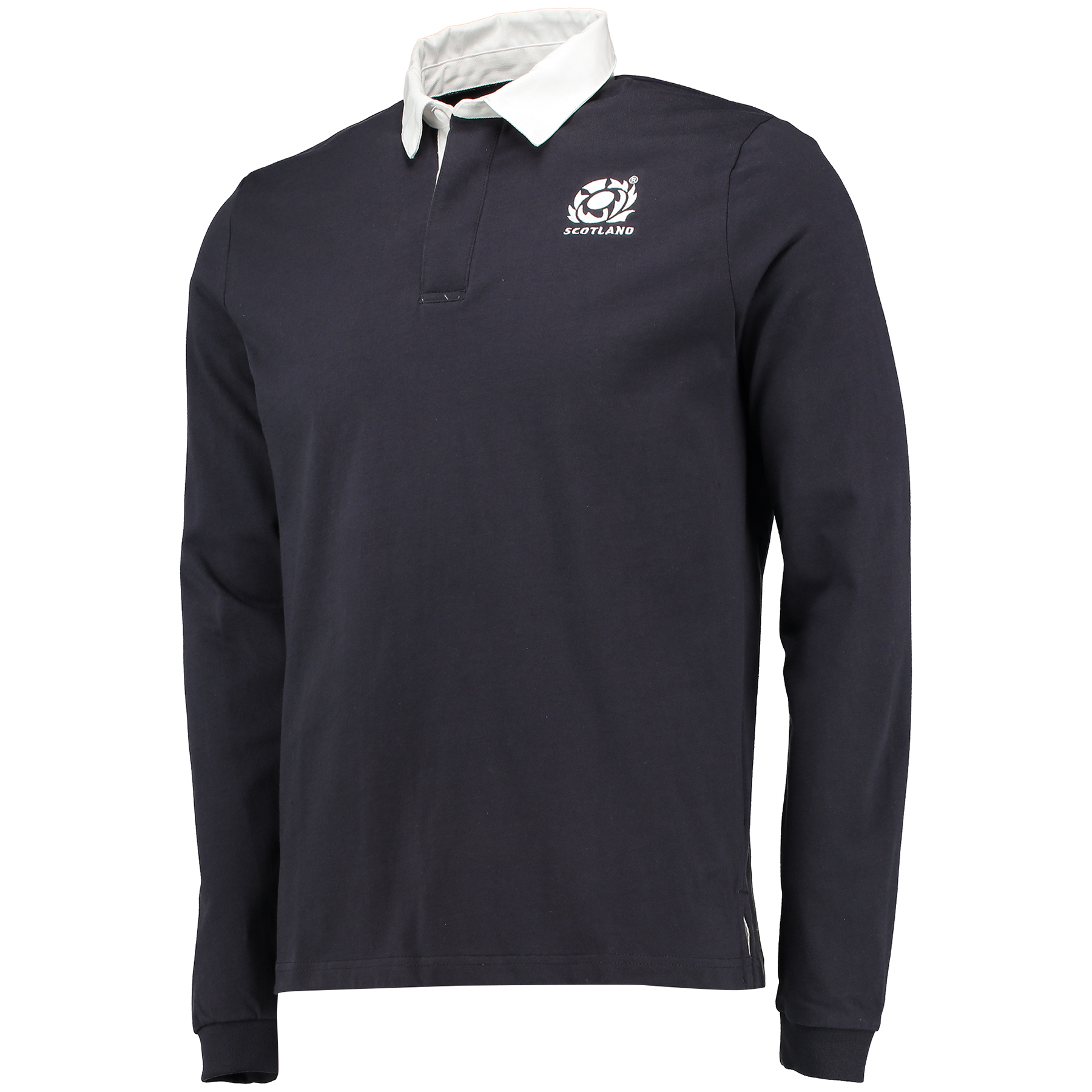 Scotland Rugby Murrayfield Retro Cotton Long Sleeve Rugby Jersey Navy