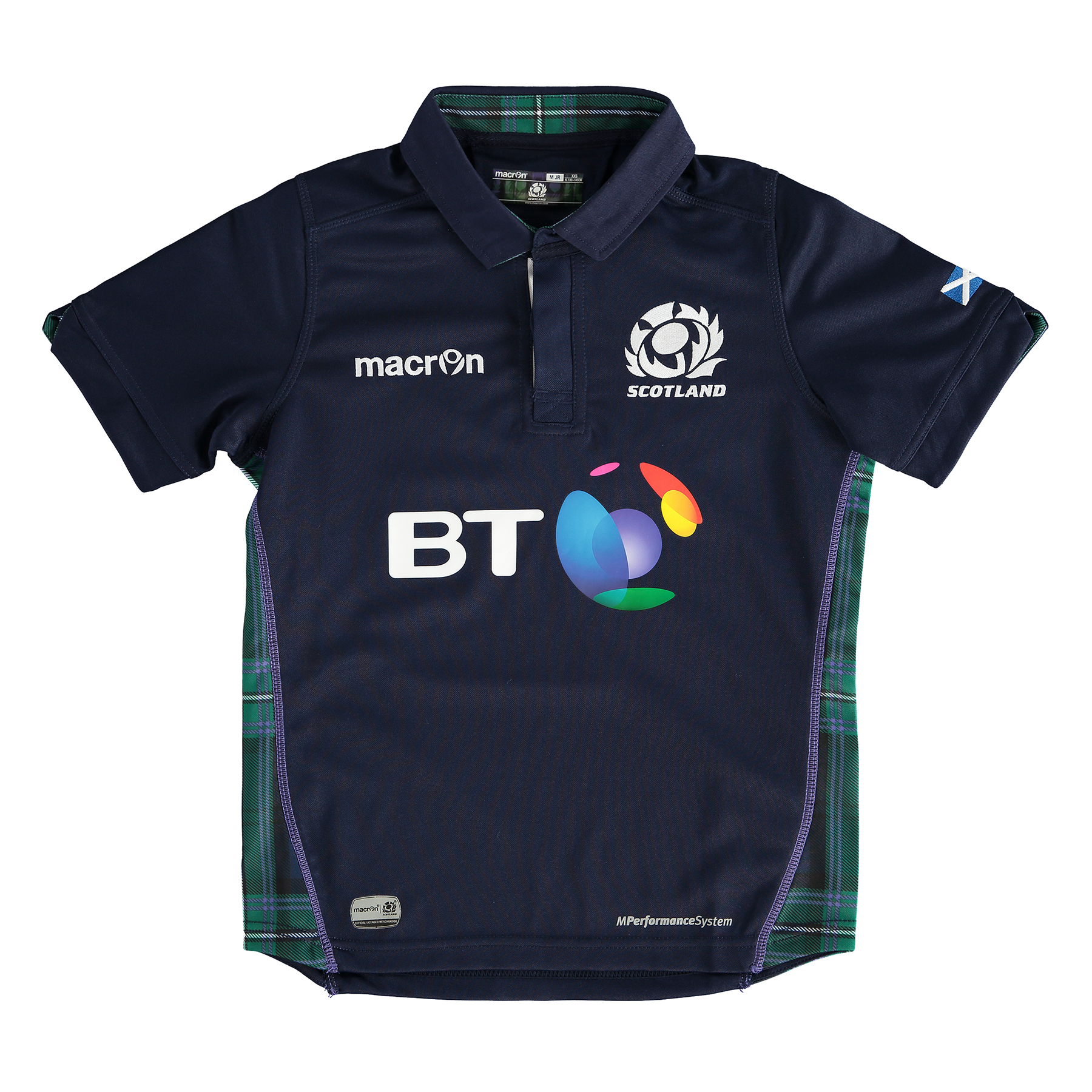 Scotland Rugby Home Poly Short Sleeve Shirt 15/17 - Kids Navy