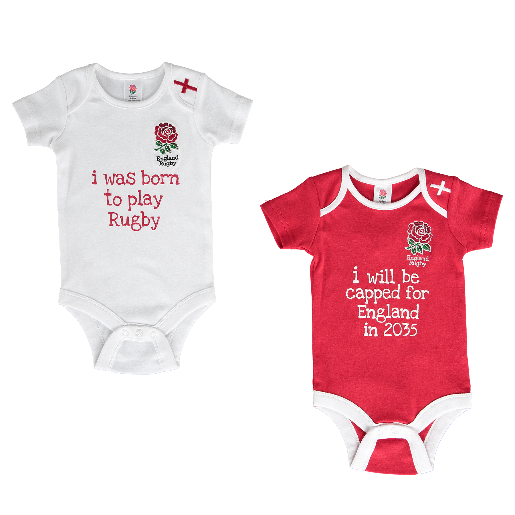 England 2 Pack 2015/16 Kit Bodysuits - White/Red