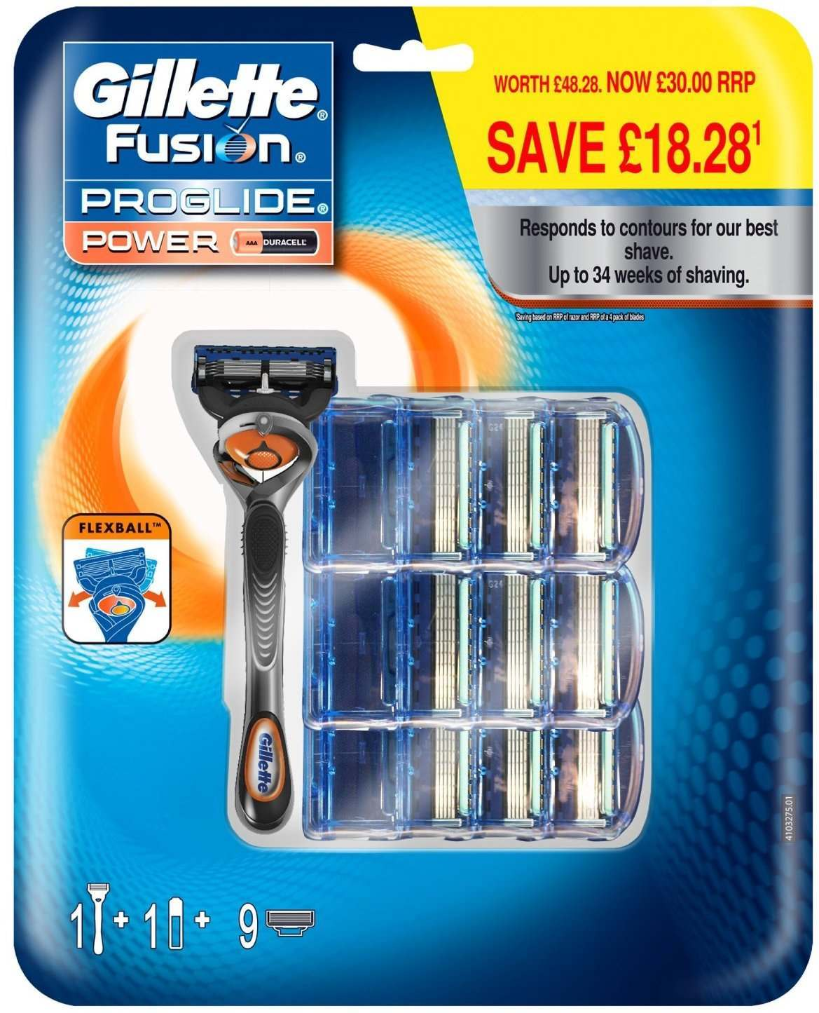 Gillette 81524194 Fusion Proglide Power Flexball Pack of 9 Blades with