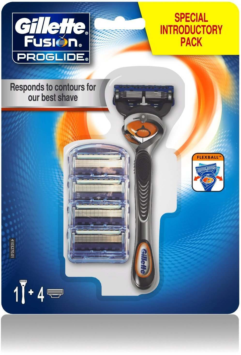 Gillette 81560202 Fusion Proglide Flexball Pack of 4 Blades with Razor