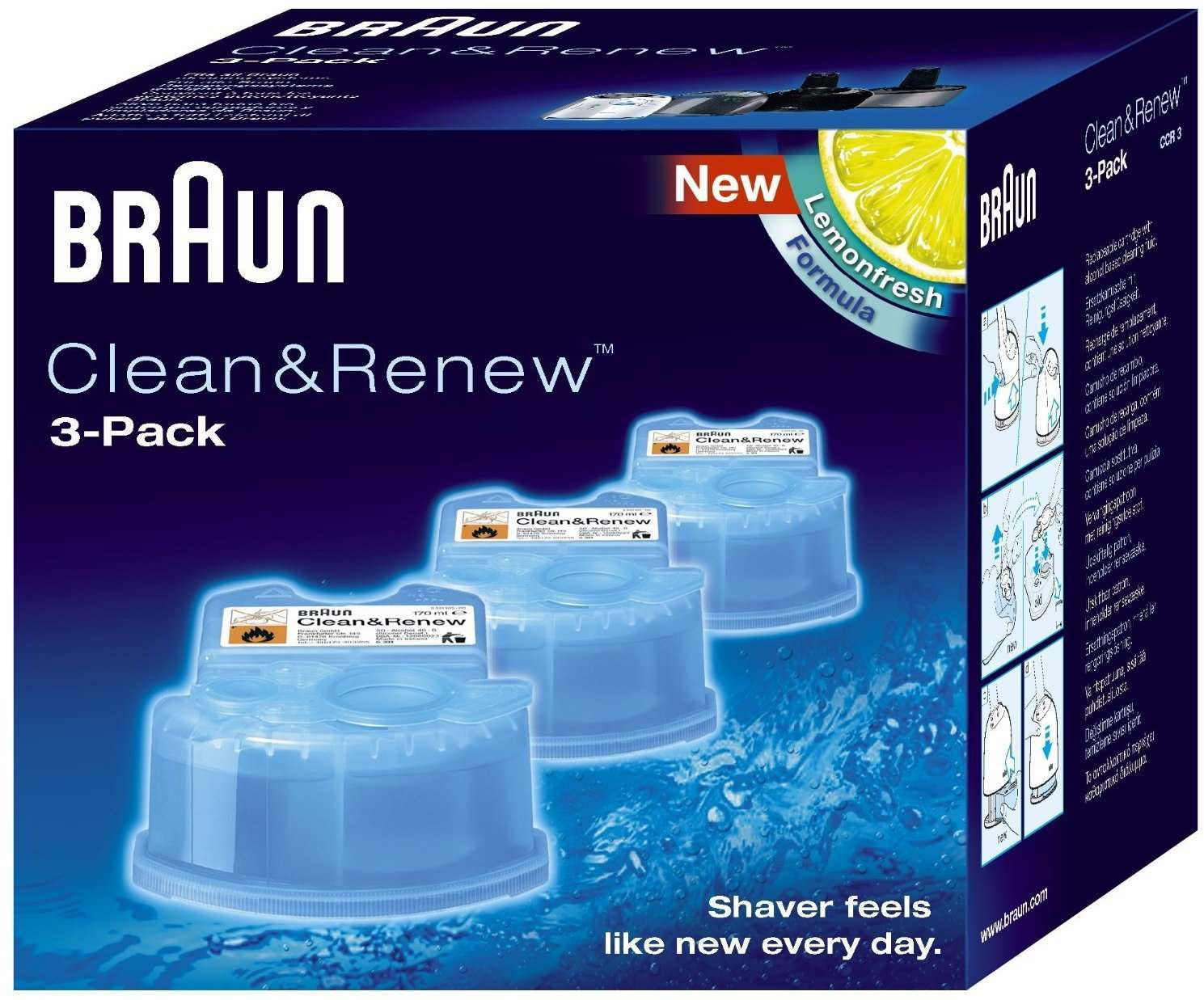 Braun CCR3 Clean & Renew Pack of 3 Cleaning Refill