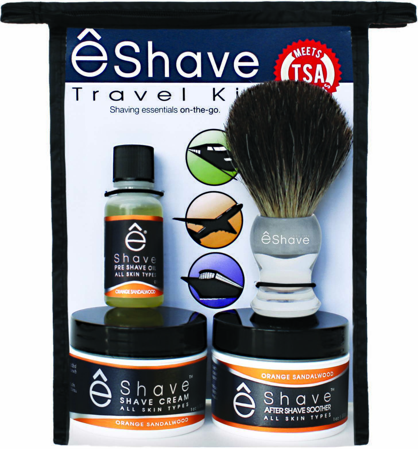 êShave 44114 Orange Sandalwood TSA Approved Travel Kit