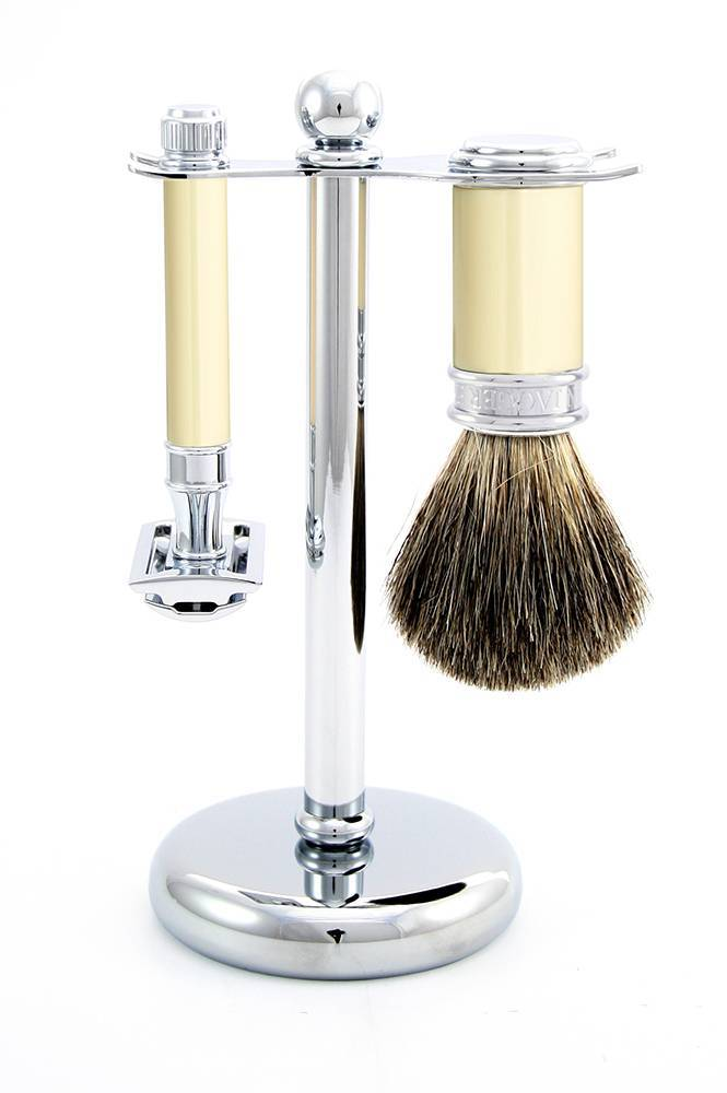 Edwin Jagger PPS-S81M8711 3 Piece Imitation Ivory (Brush, Stand & DE