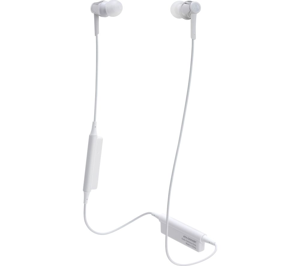 AUDIO TECHNICA ATH-CKR35BT Wireless Bluetooth Headphones - White, White