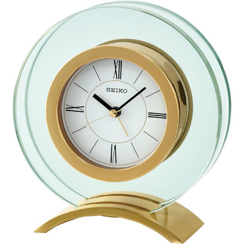Seiko Clocks Glass Mantel Alarm Clock