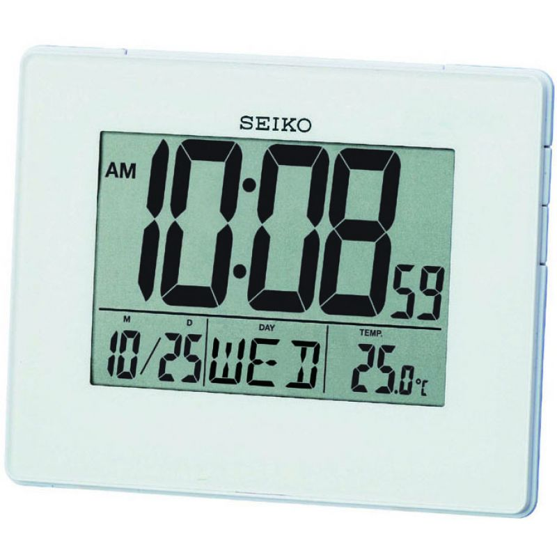 Seiko Clocks LCD Thermometer Bedside Alarm Clock