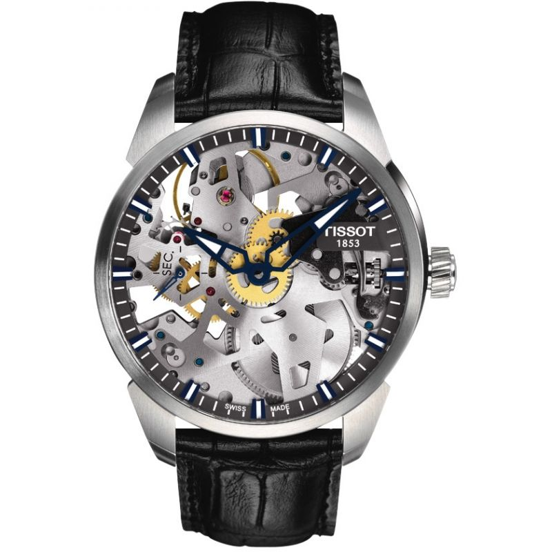 Mens Tissot Chemin Des Tourelles Squelette Mechanical Watch