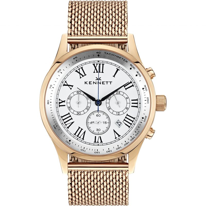 Mens Kennett Savro Gold White Milanese Chronograph Watch