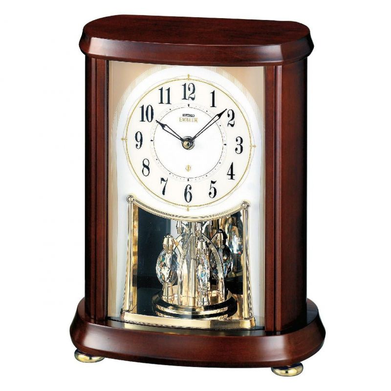 Seiko Clocks Emblem Wooden Mantel Clock