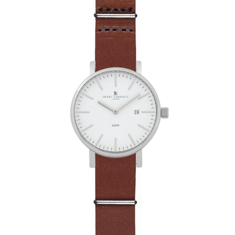 Mens Smart Turnout Duke White Dial Watch With Tan Leather Strap Watch