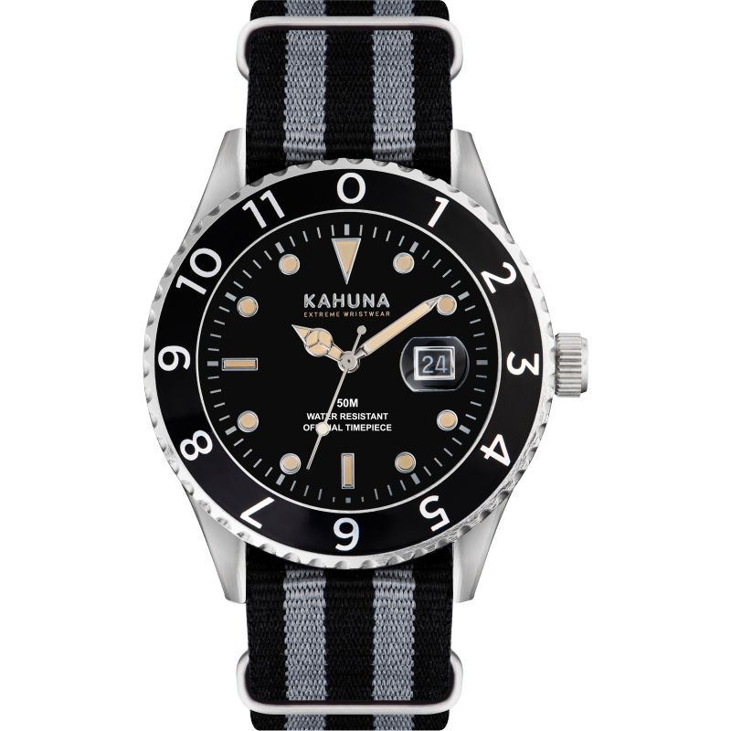 Mens Kahuna Black and Grey Nato Strap Watch