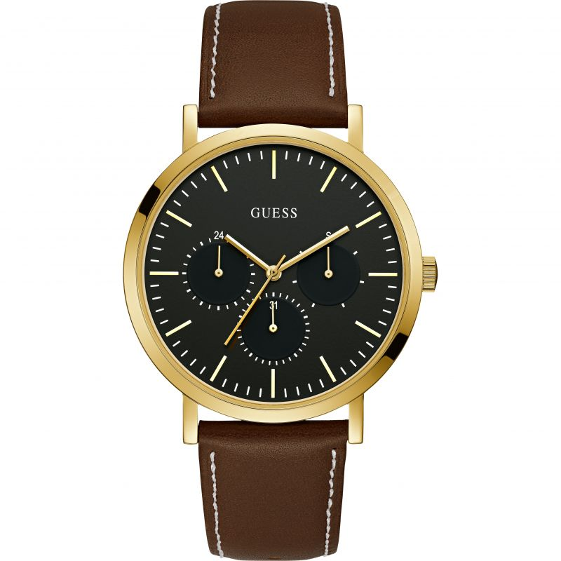 GUESS Gents gold watch, black dial and cedar leather strap.