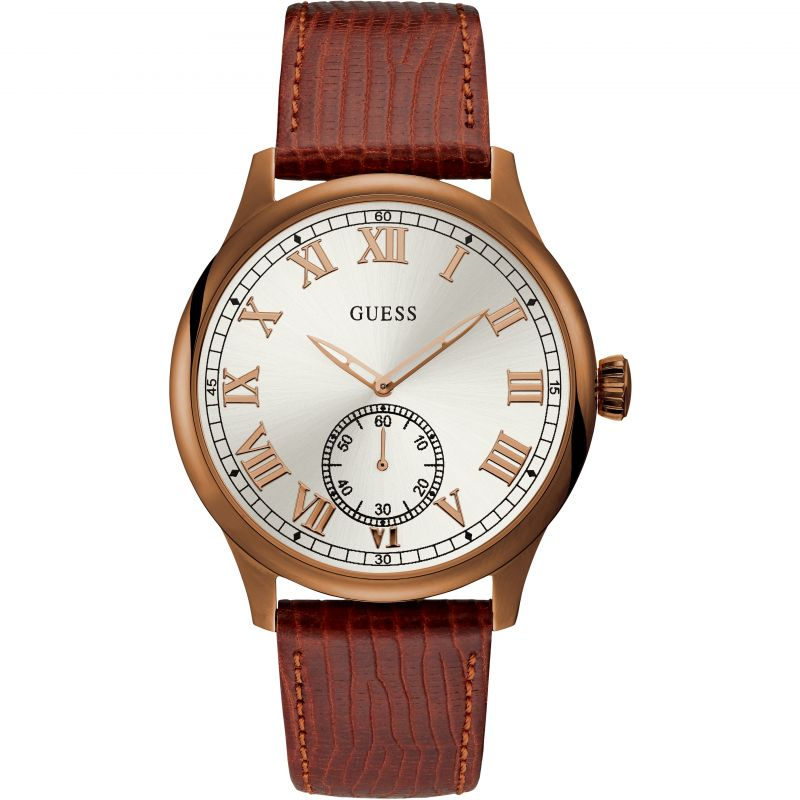 GUESS Gents copper watch with white dial & leather strap