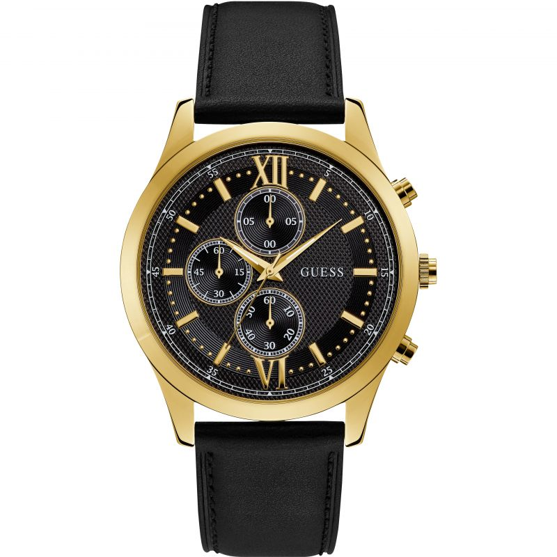 GUESS Gents gold watch with black dial & leather strap