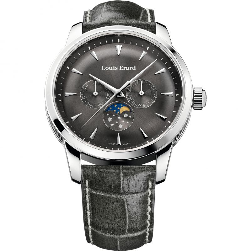 Mens Louis Erard Heritage Day Date Moonphase Watch 14910AA05.BDC102