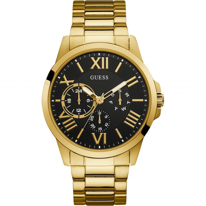 GUESS Gents gold watch with black multifunction dial.