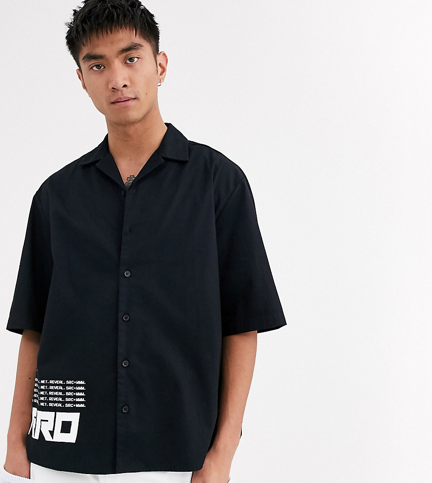 COLLUSION boxy shirt in black