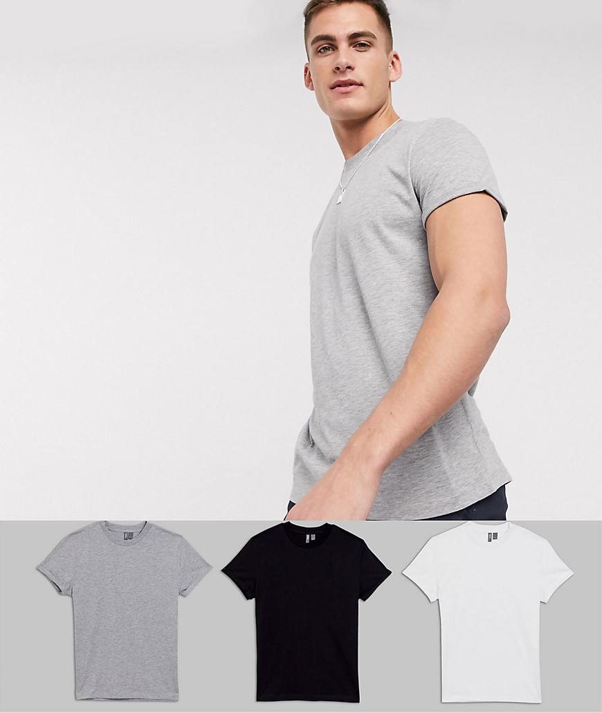 ASOS DESIGN 3 pack t-shirt with crew neck and roll sleeve save-Multi