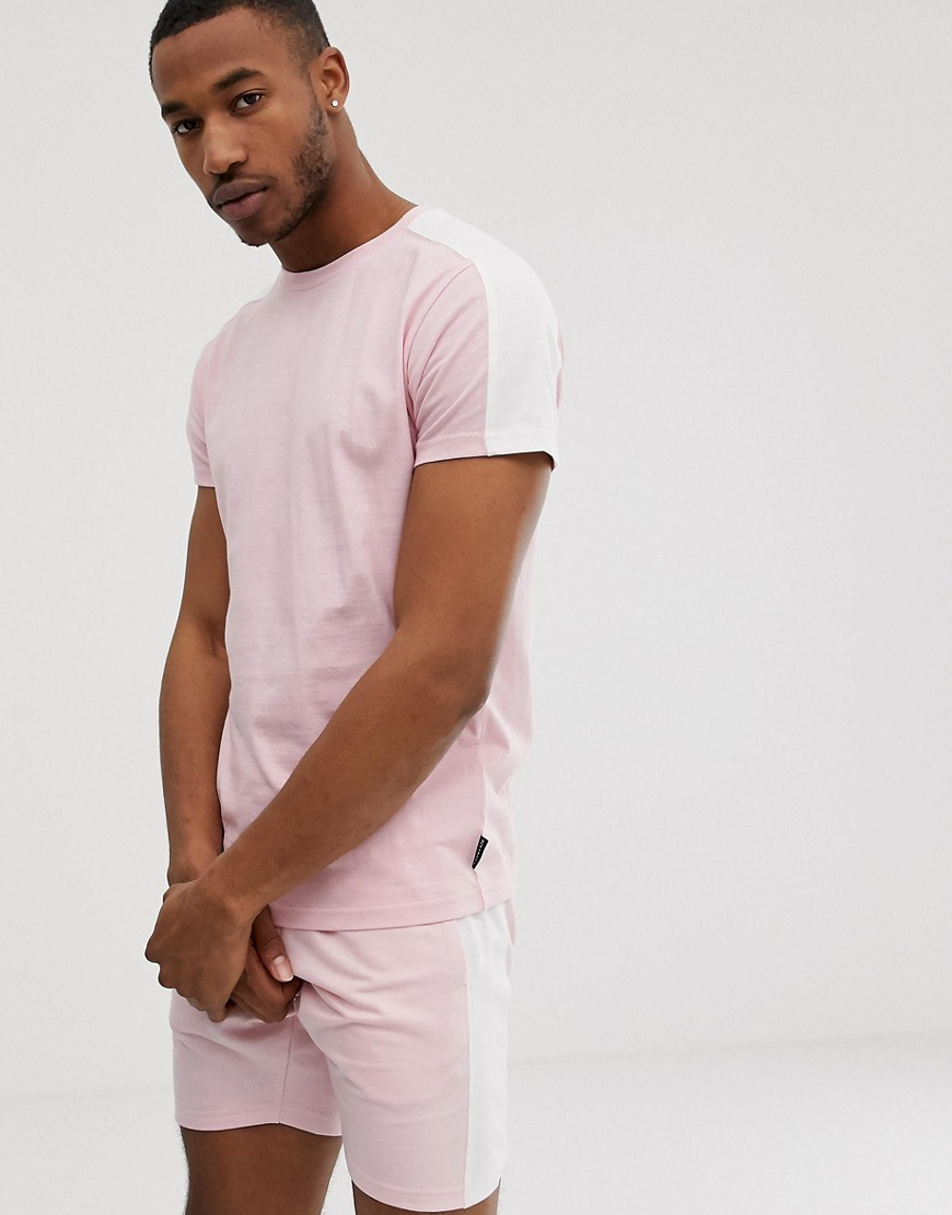D-Struct cut and sew panel t-shirt-Pink