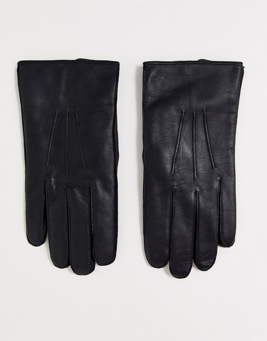 Dents Hasting leather gloves with fleece lining in black