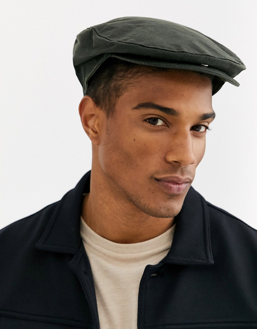 Dents waxed cotton flat cap with tartan lining-Green