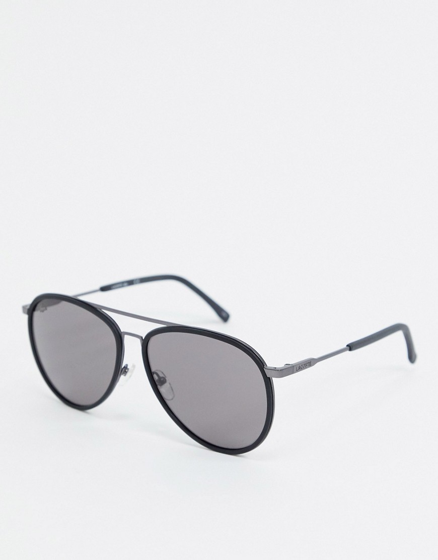 Lacoste Casual Elegance round sunglasses with double brow-Black