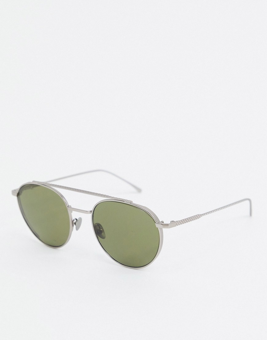 Lacoste Casual Elegance round sunglasses with double brow-Silver