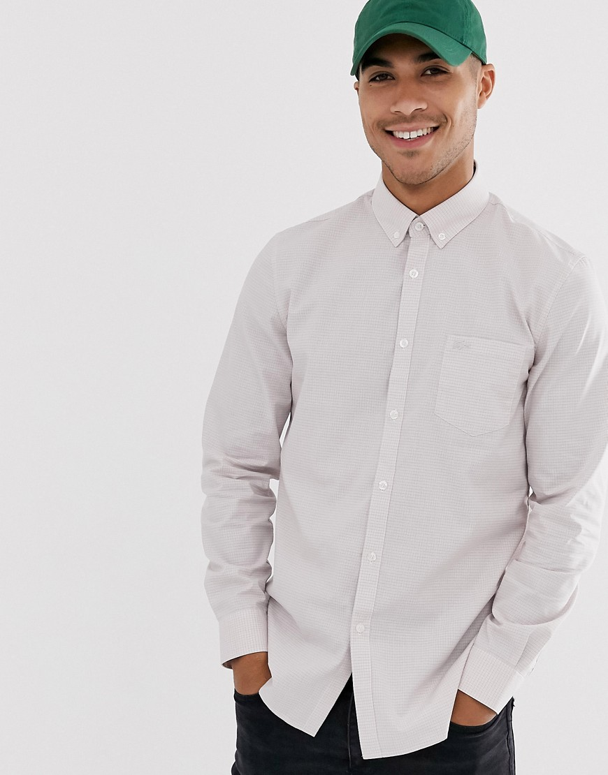 Lacoste check pocket long sleeve shirt-White