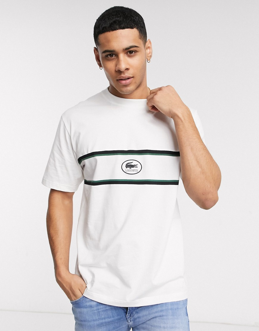 Lacoste embroidered logo panel shirt in off white