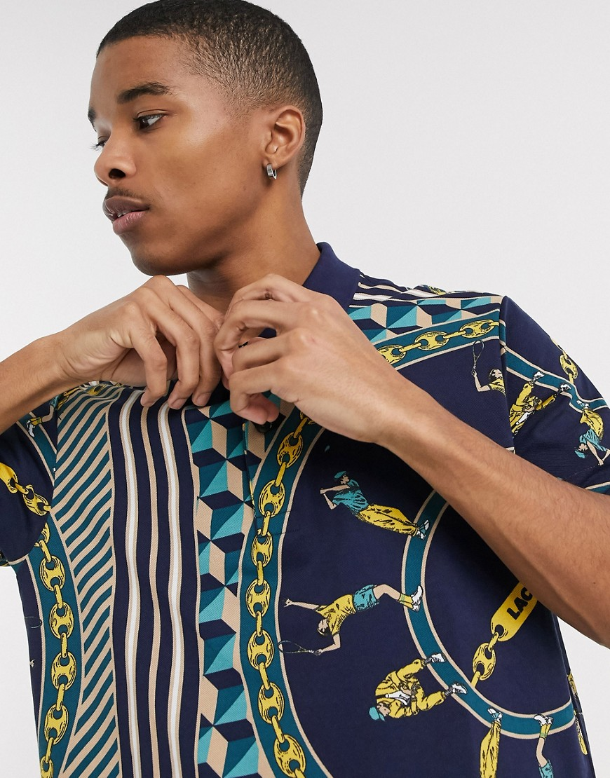 Lacoste L!VE chain print polo in navy