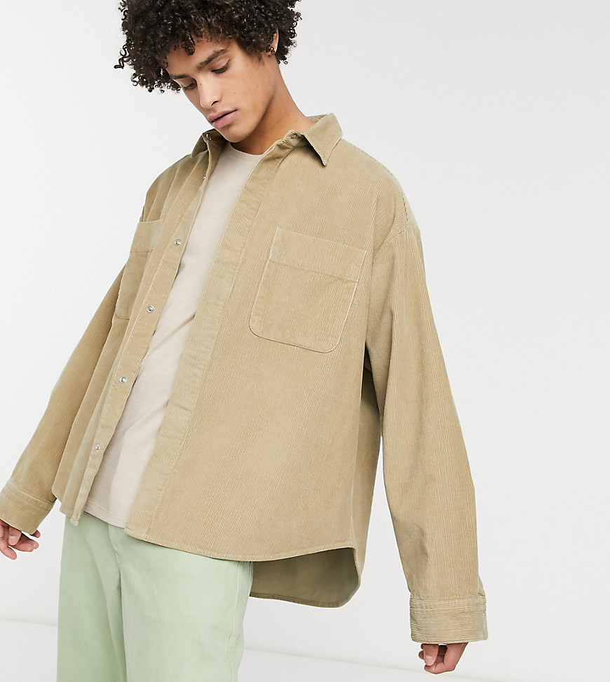 Noak oversized chunky cord shirt in stone-Brown