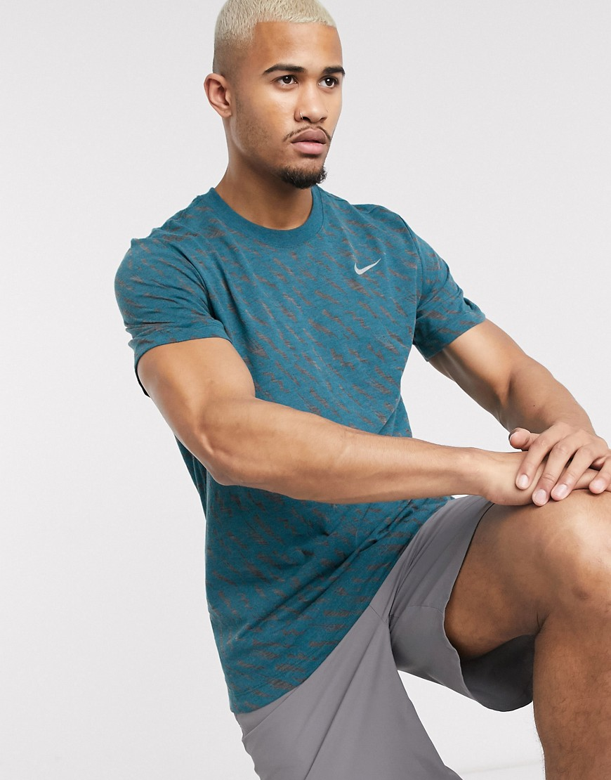 Nike Running all over print t-shirt in blue