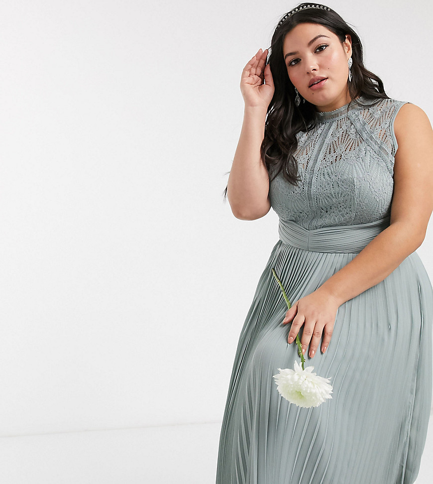 TFNC Plus bridesmaid lace back maxi dress in sage-Green