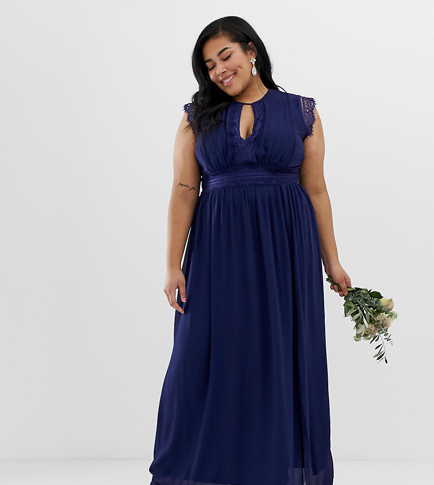 TFNC Plus lace detail maxi bridesmaid dress in navy