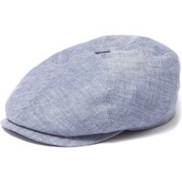 Brooklin Linen Flat Cap- Blue