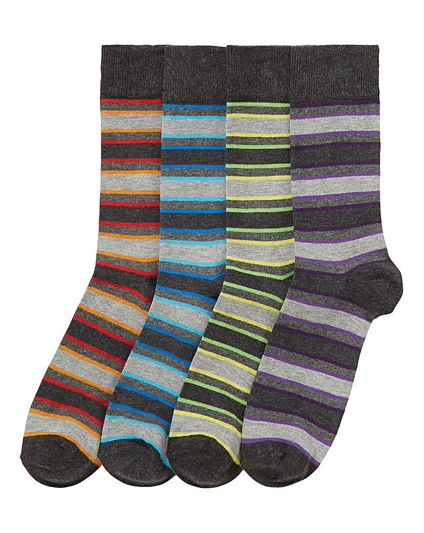 Capsule Pack of 4 Multi Stripe Socks