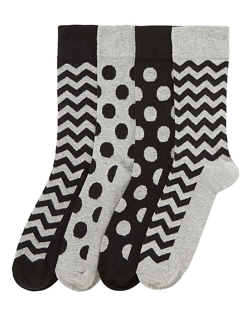 Capsule Pack of 4 Monochrome Socks