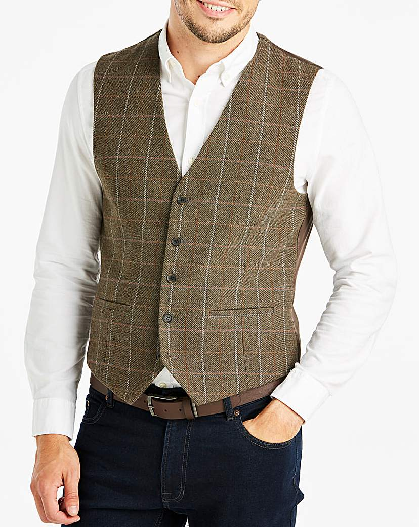 Black Label Taupe Check Waistcoat L